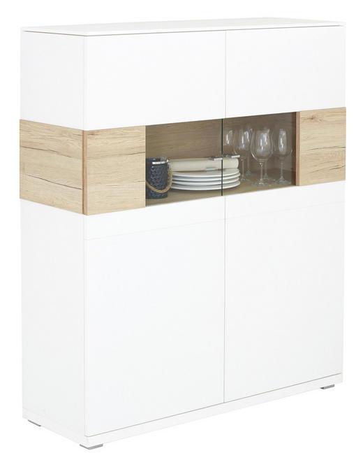 HIGHBOARD Eichefarben, Weiß - Eichefarben/Weiß, Design, Holzwerkstoff/Metall (125/145/42cm) - VALDERA
