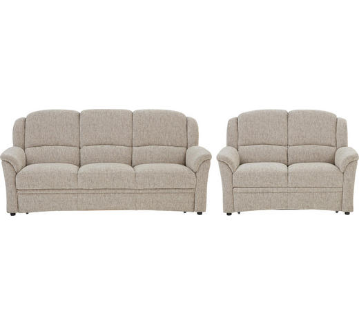 SITZGARNITUR in Textil Sandfarben - Sandfarben/Schwarz, KONVENTIONELL, Kunststoff/Textil (204/98/89cm) - Beldomo Comfort