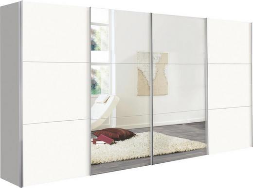 SCHWEBETÜRENSCHRANK 4-türig Weiß - Alufarben/Weiß, Design, Glas/Holzwerkstoff (400/236/68cm) - Hom`in