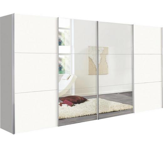 SCHWEBETÜRENSCHRANK in Weiß - Alufarben/Weiß, Design, Glas/Holzwerkstoff (400/236/68cm) - Hom`in