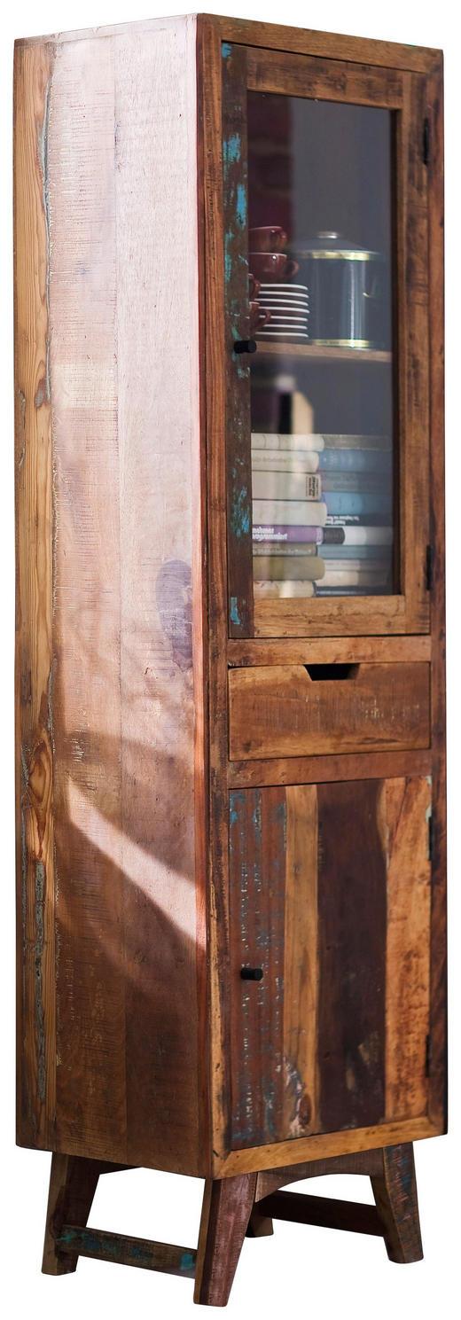 VITRINE in massiv Recyclingholz Multicolor - Multicolor, LIFESTYLE, Glas/Holz (55/190/40cm) - Landscape