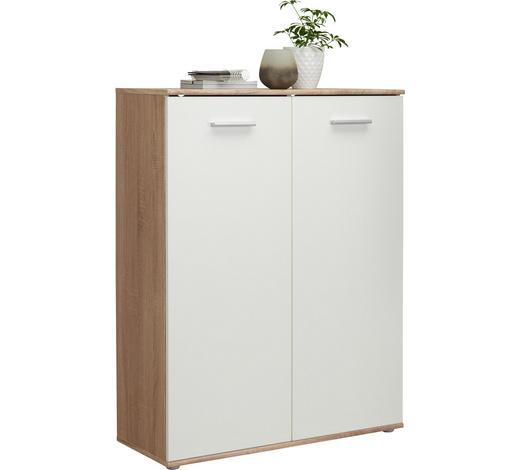 SCHUHSCHRANK Weiß, Sonoma Eiche  - Silberfarben/Weiß, Design, Holzwerkstoff/Kunststoff (90/120/36cm) - Carryhome