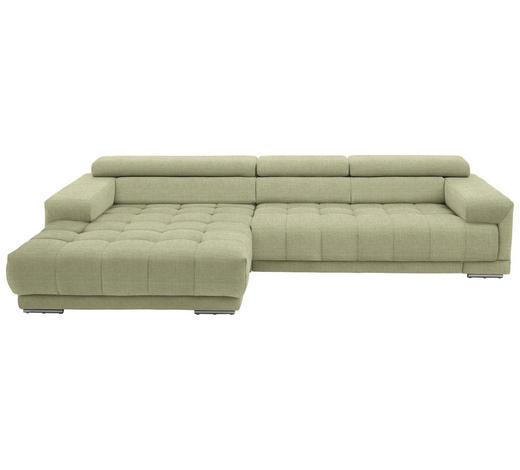 WOHNLANDSCHAFT in Textil Hellgrün - Silberfarben/Hellgrün, Design, Textil/Metall (190/335cm) - Beldomo Style