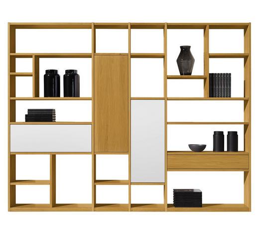 REGALKOMBINATION Holz, Glas Eiche massiv, mehrschichtige Massivholzplatte (Tischlerplatte) Weiß, Eichefarben  - Eichefarben/Weiß, Design, Glas/Holz (283/219/28cm) - Team 7