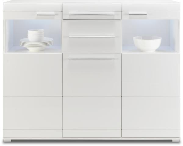 HIGHBOARD - vit, Design, glas/träbaserade material (150/120/45cm) - CARRYHOME