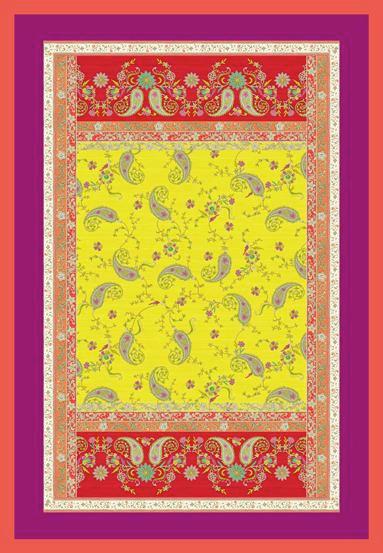 PLAID 135/190 cm Gelb, Rot - Gelb/Rot, LIFESTYLE, Textil (135/190cm) - BASSETTI