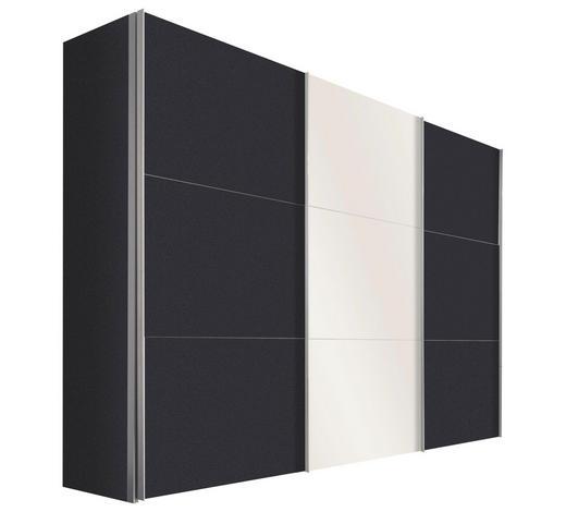 SCHWEBETÜRENSCHRANK in Graphitfarben, Weiß - Alufarben/Graphitfarben, Design, Glas/Holzwerkstoff (300/216/68cm) - Hom`in