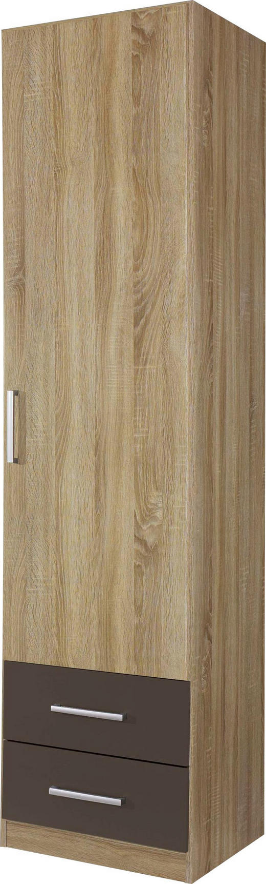 DREHTÜRENSCHRANK 1-türig Eichefarben, Grau - Eichefarben/Silberfarben, Design, Holzwerkstoff/Kunststoff (47/197/54cm) - Carryhome