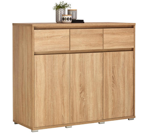 KOMMODE 120/103/48 cm  - Alufarben/Sonoma Eiche, Design, Holzwerkstoff/Kunststoff (120/103/48cm) - Carryhome