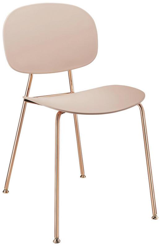 STUHL Beige, Kupferfarben - Beige/Kupferfarben, Design, Kunststoff/Metall (45/81,5/50,9cm)