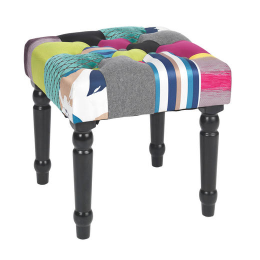 HOCKER Multicolor - Dunkelbraun/Multicolor, LIFESTYLE, Holz/Textil (40/40/40cm) - Carryhome