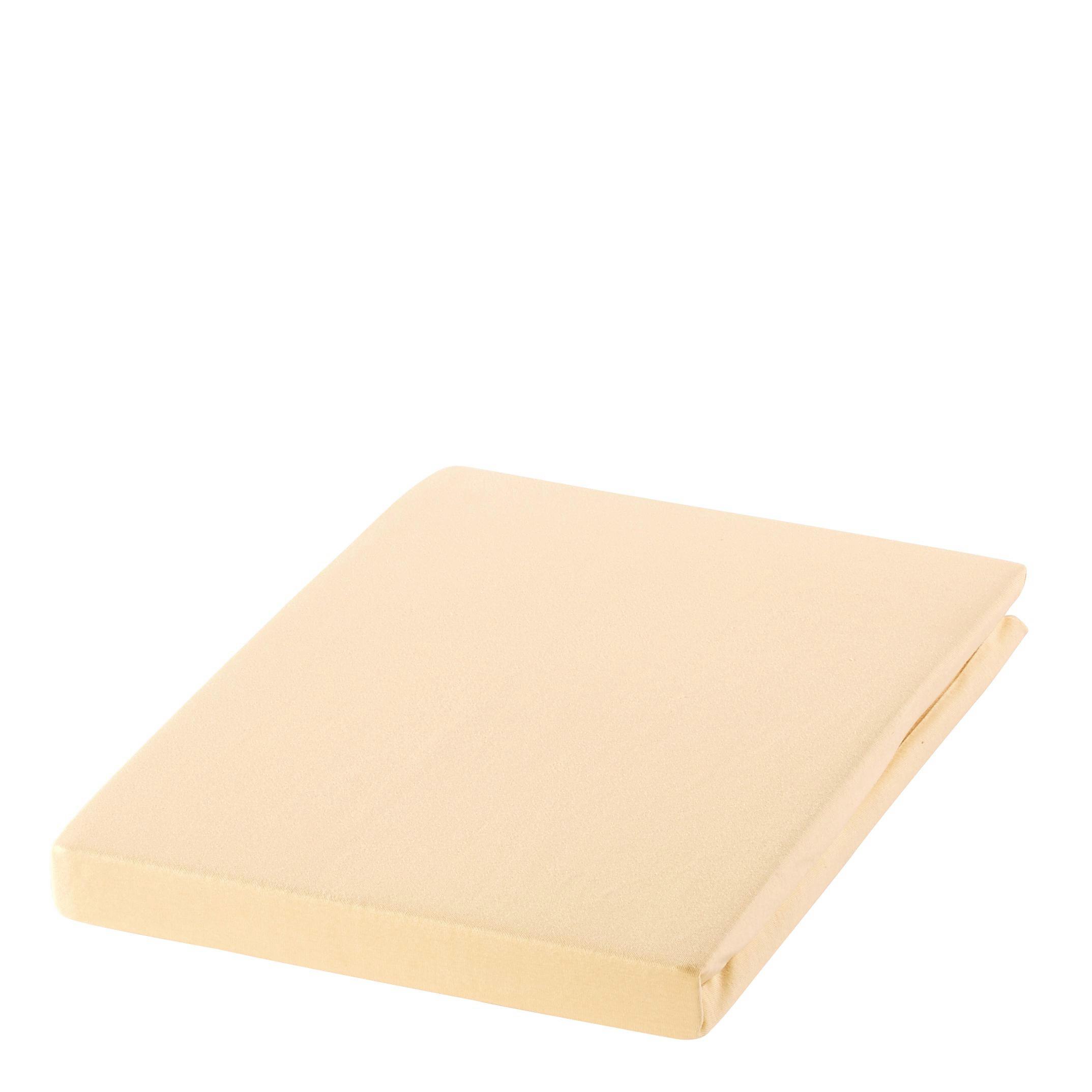 SPANNBETTTUCH Zwirn-Jersey Beige bügelfrei, für Wasserbetten geeignet - Beige, Basics, Textil (200/200cm) - ESTELLA
