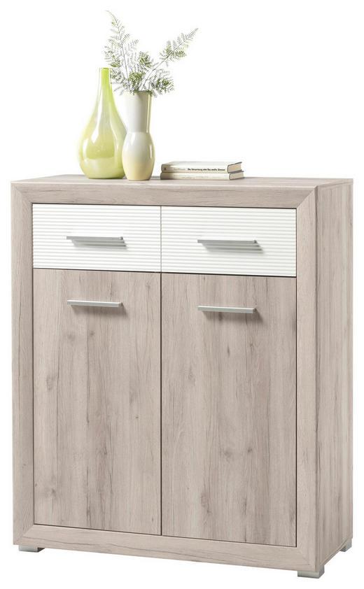 KOMMODE Eichefarben, Weiß - Eichefarben/Silberfarben, Design, Holzwerkstoff/Kunststoff (88/88/40cm) - Boxxx