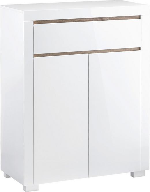 SCHUHSCHRANK Hochglanz Sonoma Eiche, Weiß - Weiß/Sonoma Eiche, Design, Holzwerkstoff (83/105,5/38cm) - Xora