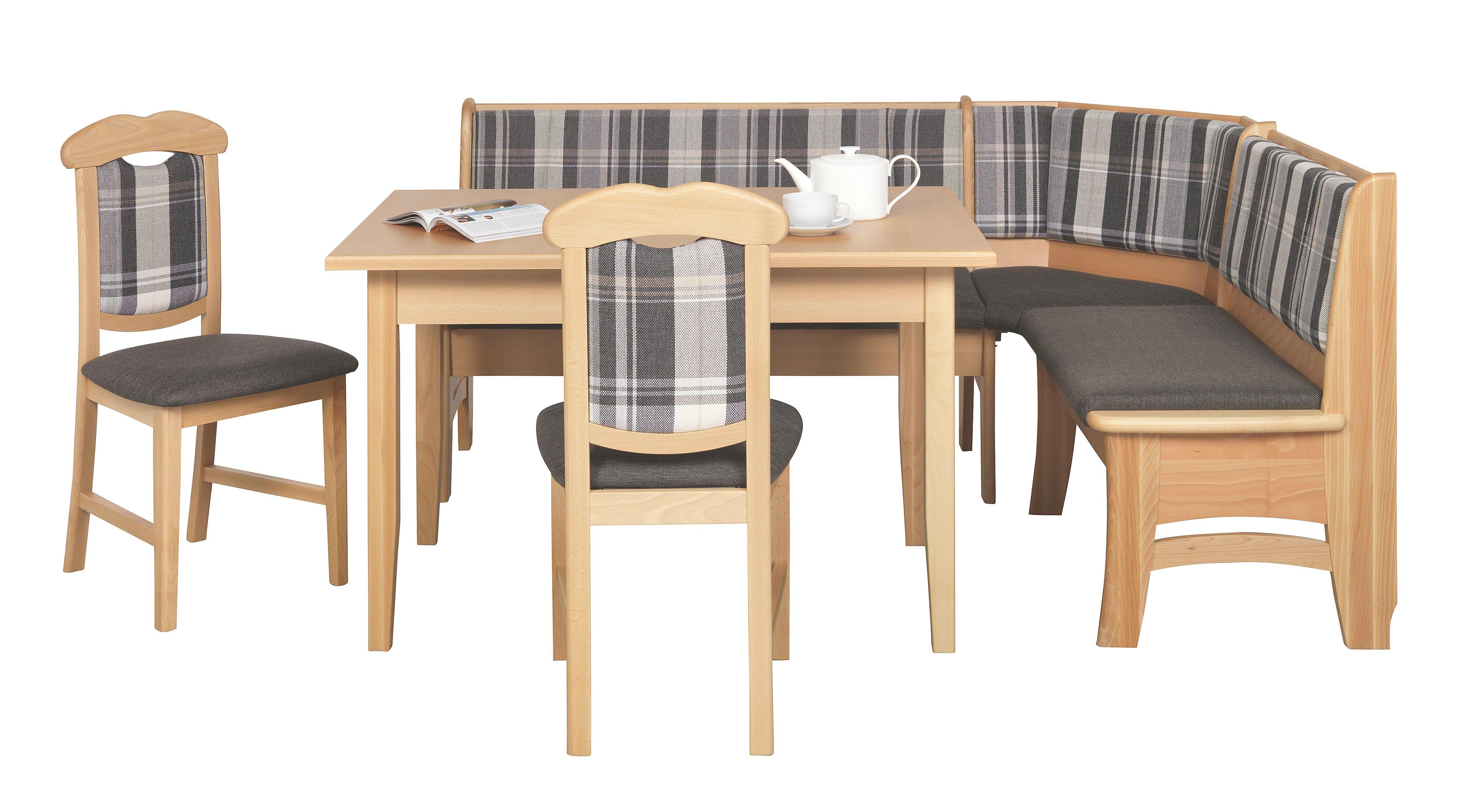 ECKBANKGRUPPE In Holz, Holzwerkstoff, Textil Braun, Buchefarben, Grau,  Hellblau   Buchefarben