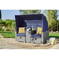 LOUNGE GARNITURA - siva/tamno plava, Romantično / ladanjski, staklo/metal (175/152(65)/80cm) - Ambia Garden
