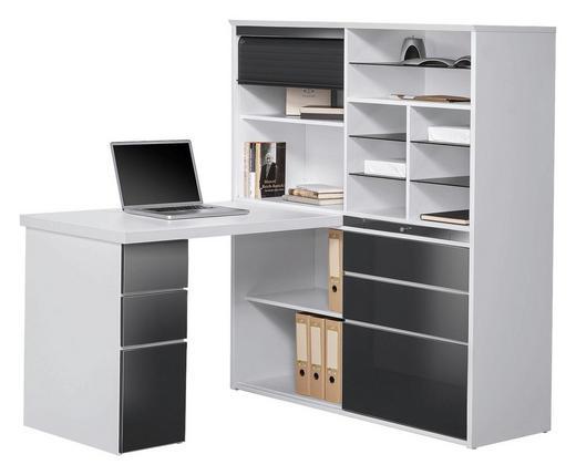MINI-OFFICE Grau, Weiß - Weiß/Grau, KONVENTIONELL, Glas (126,6/150/187cm) - Venda