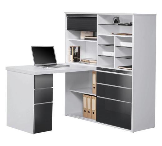 MINI-OFFICE Schreibtisch seitenverkehrt montierbar Grau, Weiß - Weiß/Grau, KONVENTIONELL, Glas (126,6/150/187cm) - Venda