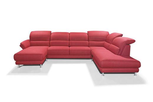 WOHNLANDSCHAFT Flachgewebe - Chromfarben/Rot, Design, Textil/Metall (174/348/236cm) - MUSTERRING