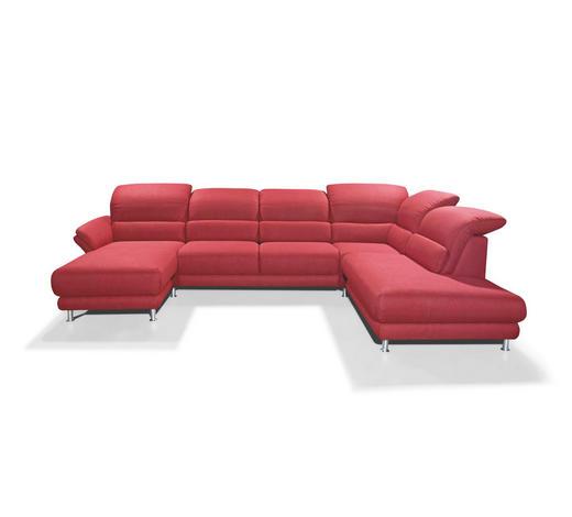 WOHNLANDSCHAFT Rot Flachgewebe  - Chromfarben/Rot, Design, Textil/Metall (174/348/236cm) - Musterring