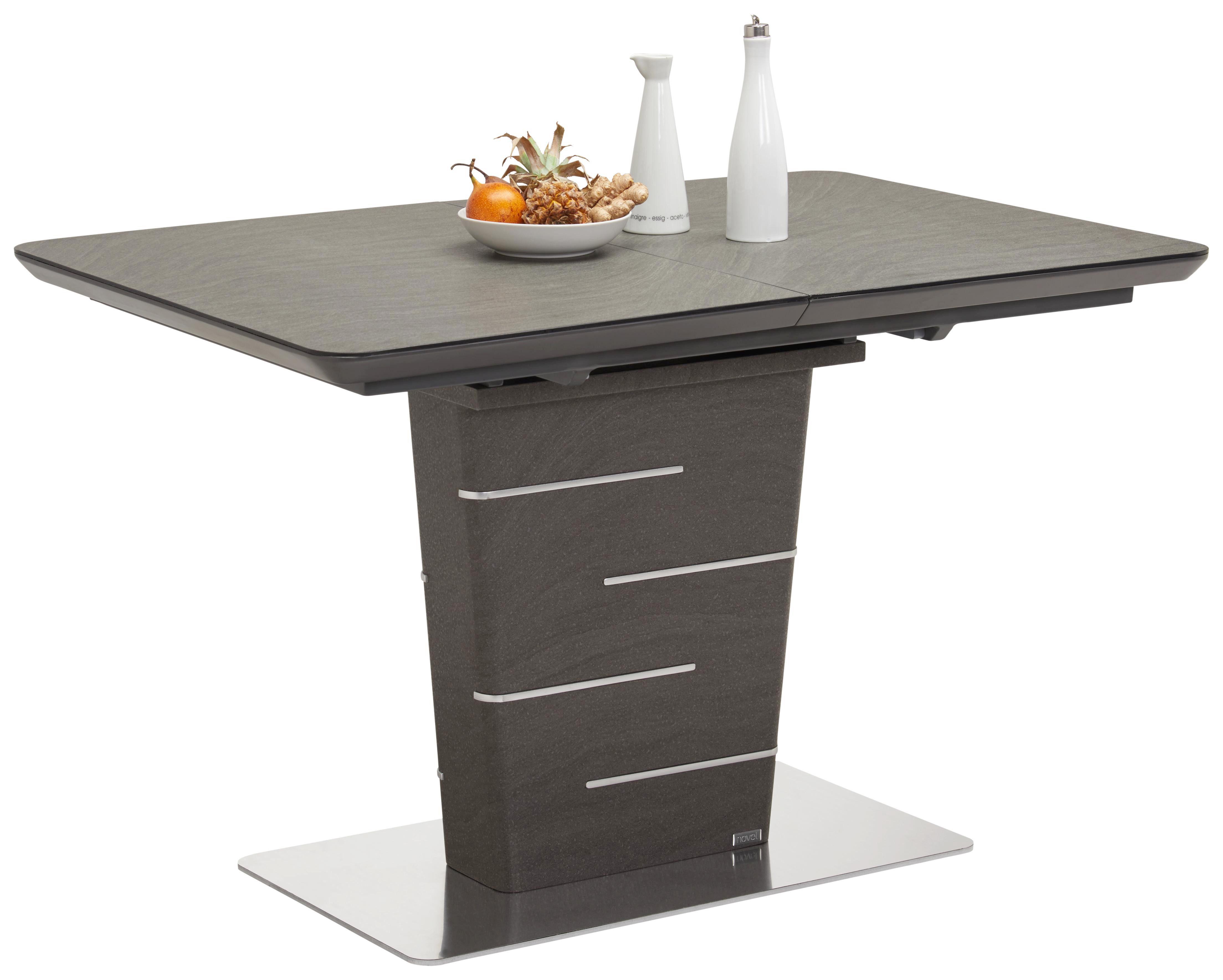 MATBORD - mörkgrå/rostfritt stål-färgad, Design, metall/träbaserade material (120(160)/80/76cm) - Novel