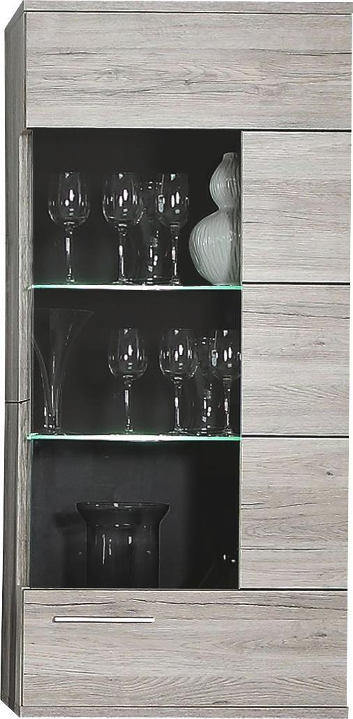HÄNGEVITRINE Eichefarben, Grau, Sandfarben - Sandfarben/Eichefarben, Design, Glas/Kunststoff (60,2/136/34,1cm) - Hom`in