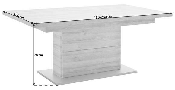 ESSTISCH in Holzwerkstoff 180(280)/100/78 cm   - Eichefarben/Silberfarben, KONVENTIONELL, Holzwerkstoff (180(280)/100/78cm) - Cantus