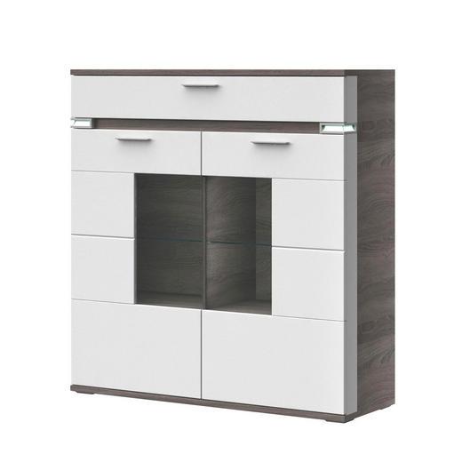 HIGHBOARD Melamin Braun, Grau, Weiß - Alufarben/Braun, Design, Glas/Holzwerkstoff (120,1/126,2/41cm) - Stylife
