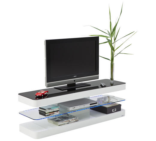 TV-ELEMENT 140/45/39 cm  - Schwarz/Weiß, Design, Glas/Holzwerkstoff (140/45/39cm) - Xora