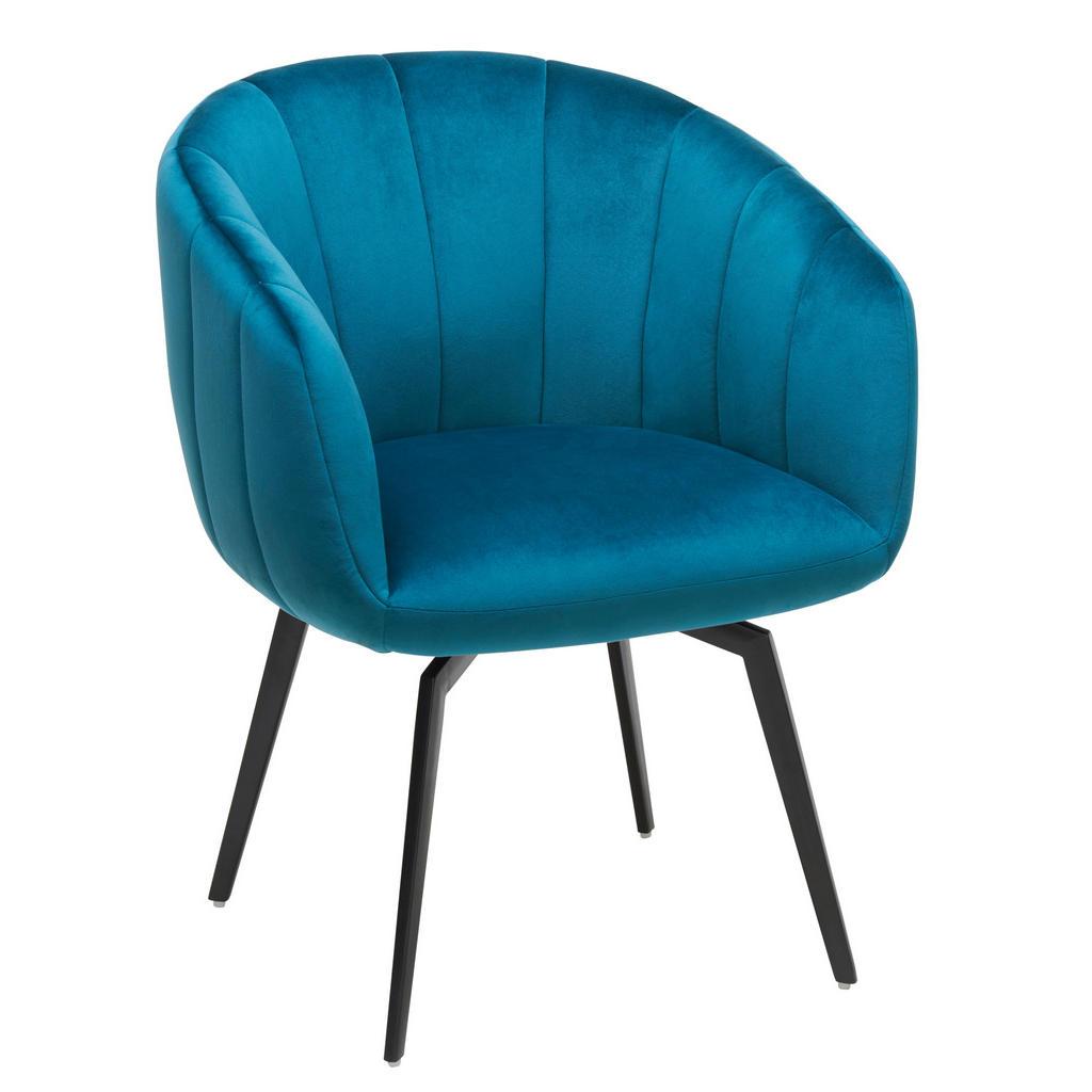 Image of Ambia Home Stuhl in metall, textil blau, schwarz , Luna , 61.5x79.5x61 cm , matt, pulverbeschichtet,Samt , 002727016402