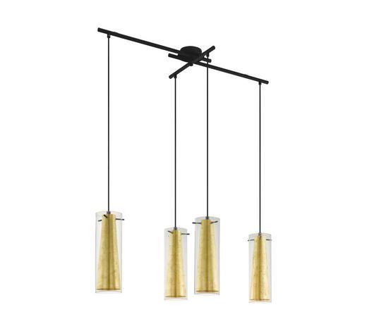 HÄNGELEUCHTE - Goldfarben/Schwarz, Trend, Glas/Metall (90,5/36/110cm)