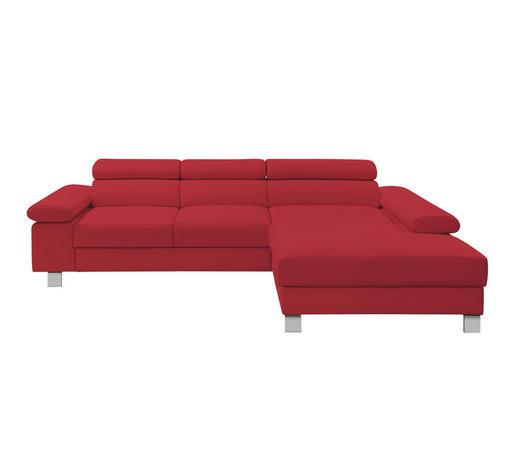 WOHNLANDSCHAFT in Leder Rot  - Chromfarben/Rot, Design, Leder/Metall (276/198cm) - Venda