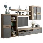 WOHNWAND Eichefarben, Dunkelgrau  - Eichefarben/Dunkelgrau, Design, Glas/Holzwerkstoff (300/200,9/41cm) - Carryhome
