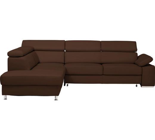 WOHNLANDSCHAFT in Leder Braun  - Alufarben/Braun, Design, Leder/Metall (226/275cm) - Beldomo Premium