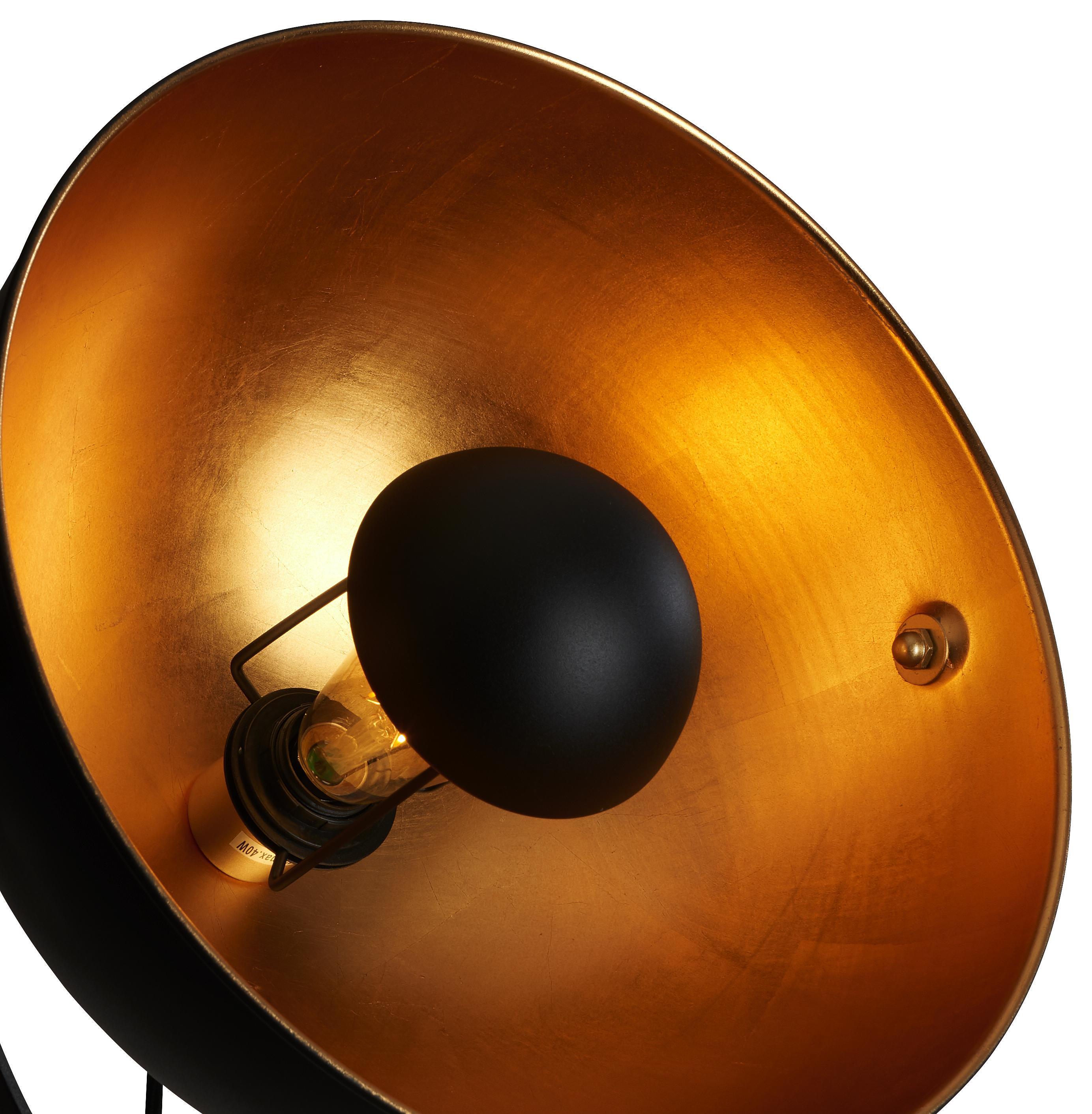 GOLVLAMPA - svart/guldfärgad, Trend, metall (40/168cm)