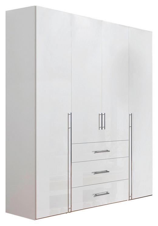 KLEIDERSCHRANK 4-türig Weiß - Chromfarben/Weiß, Design, Holzwerkstoff/Metall (200/236/58cm) - Hom`in