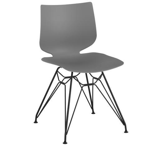 STUHL in Metall, Kunststoff Grau, Schwarz  - Schwarz/Grau, Design, Kunststoff/Metall (49/83/51cm) - Lomoco