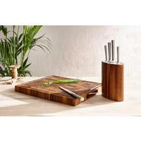 KNIVBLOCK - akaciefärgad/rostfritt stål-färgad, Basics, metall/trä - HOMEWARE