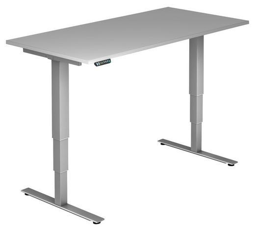 SCHREIBTISCH - Silberfarben/Grau, KONVENTIONELL, Holzwerkstoff/Metall (160/63,5-128,5/80cm)