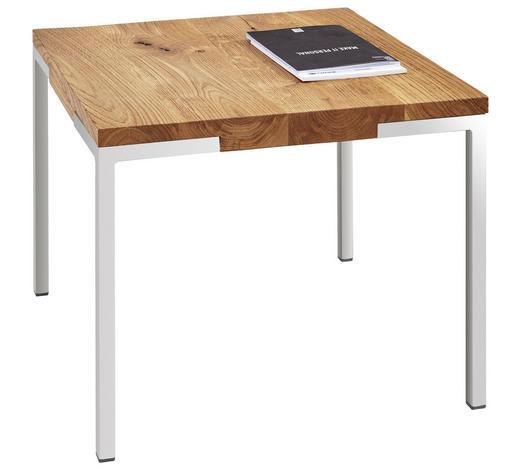 COUCHTISCH in Holz, Metall 50/50/40 cm - Edelstahlfarben/Eichefarben, Design, Holz/Metall (50/50/40cm) - Novel