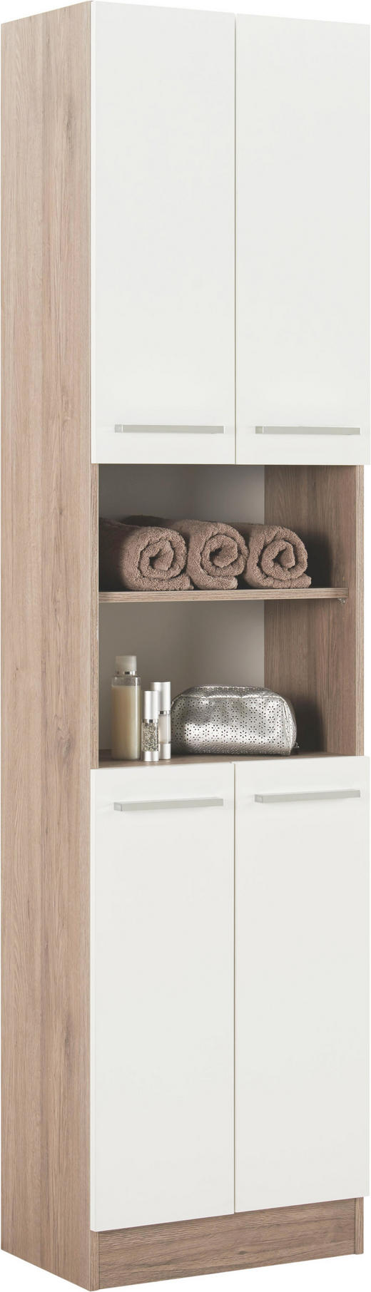 HOCHSCHRANK Weiß - Chromfarben/Eichefarben, Design, Holzwerkstoff/Metall (50/195,5/33cm) - Carryhome