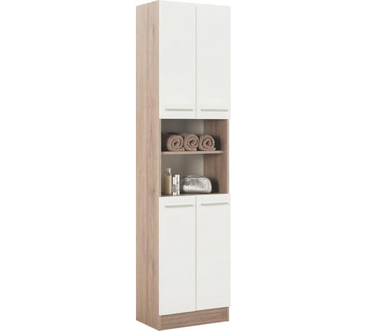 HOCHSCHRANK Weiß  - Chromfarben/Eichefarben, KONVENTIONELL, Holzwerkstoff/Metall (50/195,5/33cm) - Carryhome