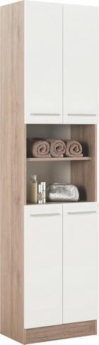 VYSOKÁ SKŘÍŇ - bílá/barvy dubu, Design, kov/dřevěný materiál (50/195,5/33cm) - XORA