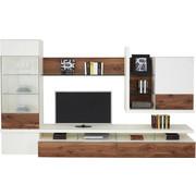 OBÝVACÍ STĚNA, bílá, barvy ořechu - bílá/černá, Design, kov/dřevo (325/196,9/41,2-55,7cm) - Moderano