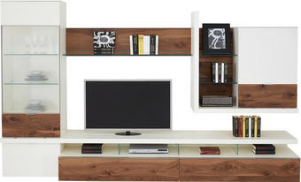 OBÝVACÍ STĚNA, barvy ořechu, bílá - bílá/černá, Design, kov/dřevo (325/196,9/41,2-55,7cm) - Moderano