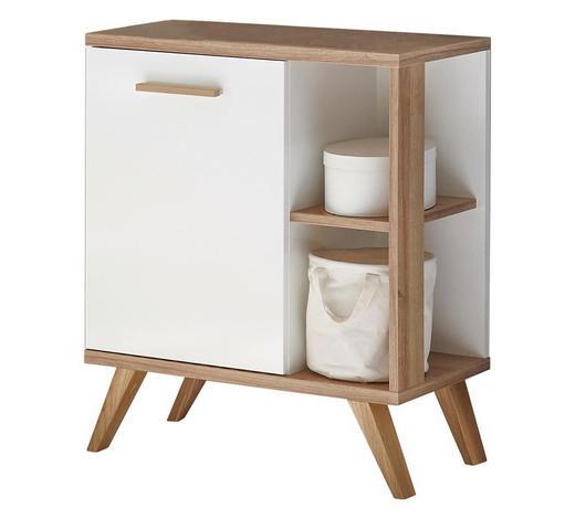 WASCHBECKENUNTERSCHRANK Weiß  - Eichefarben/Weiß, Design, Holzwerkstoff (60,5/65,0/33,0cm) - Xora