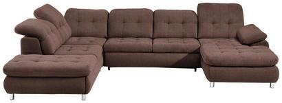 WOHNLANDSCHAFT Braun Webstoff - Chromfarben/Braun, Design, Kunststoff/Textil (260/354/190cm) - Hom`in