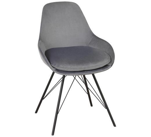STUHL in Textil Graphitfarben, Schwarz - Graphitfarben/Schwarz, Design, Textil/Metall (53/85/58cm) - Joop!