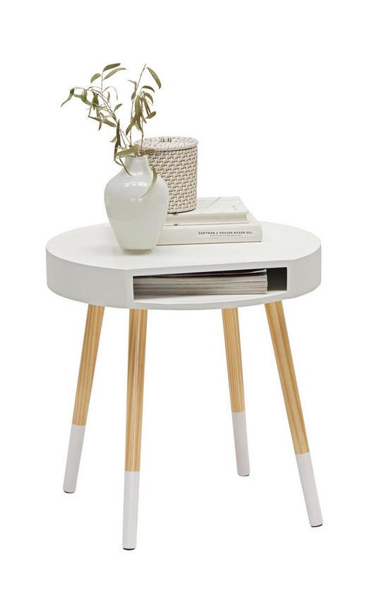 BEISTELLTISCH Kiefer massiv rund Kieferfarben, Weiß - Weiß/Kieferfarben, Design, Holz (46/47cm) - Carryhome