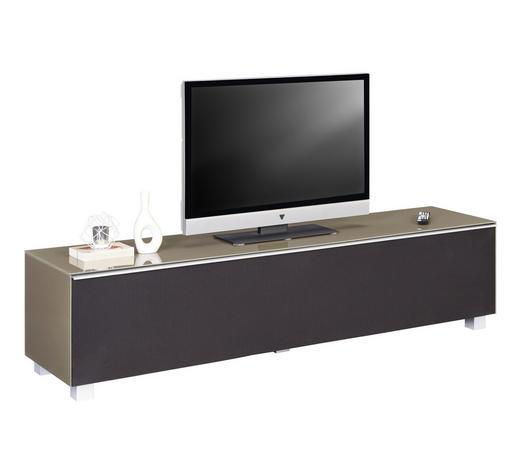 TV-ELEMENT 180/43/42 cm - Sandfarben/Alufarben, Design, Glas/Holzwerkstoff (180/43/42cm)